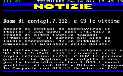 Covid-19/Italia: impennata di contagi, superati i 7.300; deceduti in crescita (+43); tamponi sopra i 150mila