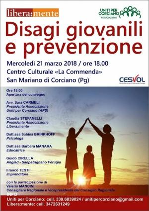 """Convegno """"Disagi giovanili e prevenzione"""" di Uniti per Corciano (Presidente Sara Carmeli)"""