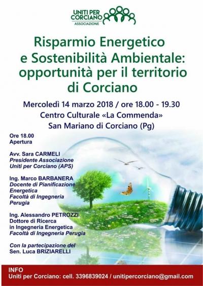 """Corciano: """"Uniti per Corciano"""" promuove incontro su risparmio energetico e sostenibilita': opportunita'..."""