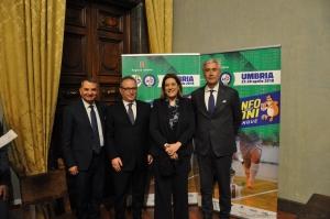 Sport:  torneo nazionale Calcio  a 5 presentato a palazzo donini: il saluto della presidente marini